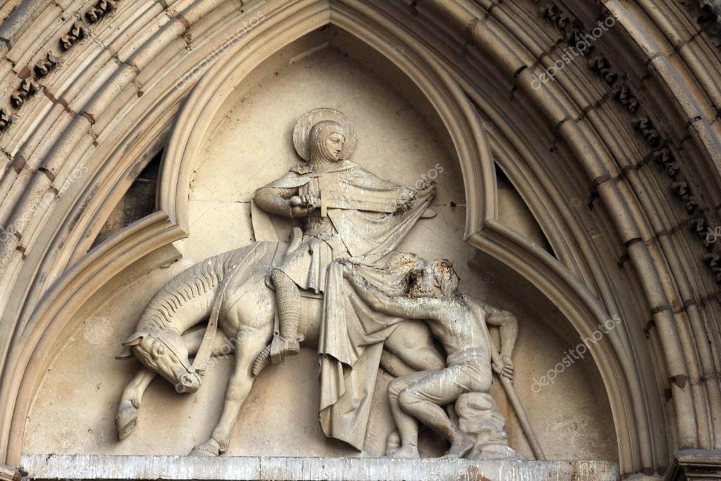 Saint Martin of Tours, bas-relief, church of St. Séverin in Paris — Stock Photo #18099627
