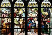 St john the baptist, wprowadzone przez jego matka, st. elizabeth, niemowlę jezusa i marii — Zdjęcie stockowe