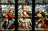 Pieta, stained glass — Stock Photo