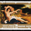 Stamp printed in HUNGARY shows Venus and Amor by Karoly Lotz — Stock Photo