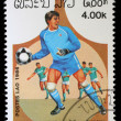 Stamp printed in LAOS shows the Soccer Players — Stock Photo #27457663