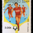 Stamp printed in LAOS shows the Soccer Players — Stock Photo #27458427