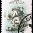 Stamp printed in Australia dedicated to the gold rush era — Stock Photo #27458515