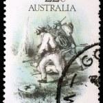 Stamp printed in Australia dedicated to the gold rush era — Stock Photo