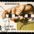 Stamp printed in AUSTRALIA shows the Survey Rule, Graph, Punched Tape, Commonwealth Scientific and Industrial Research Organization, 50th anniversary — Stock Photo #27458957