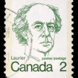 Stamp printed in Canada shows a portrait of Canadian Prime Minister Sir Wilfrid Laurier — Stock Photo