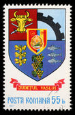Stamp printed in Romania, shows coat of arms of Vaslui County — Stockfoto
