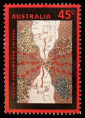 Stamp printed in the Australia shows Wild Onion Dreaming, by Pauline Nakamarra Woods, Aboriginal Painting — Stock Photo
