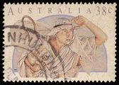 Christmas stamp printed in the Australia shows Shepherd — Stock Photo