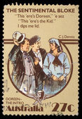 Stamp printed in Australia, shows The Sentimental Bloke — Stock Photo