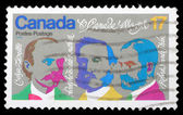 Stamp printed by Canada, shows Composers Lavallee, Routhier, Weir — Stock Photo