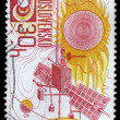 Stock Photo: Stamp printed in Czechoslovakia, Space exploration