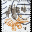 Stamp printed by Belgium dedicated to 40th Anniversary of Chapel Queen Elizabeth — Stock Photo