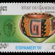 Stamp printed by Cambodia shows Pre-Columbian artefacts — Stock Photo