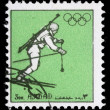 Stamp printed in Ajman shows biathlonist — Stock Photo