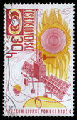 Stamp printed in Czechoslovakia, Space exploration — Stock Photo