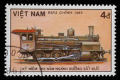 VIETNAM - CIRCA 1985: A stamp printed in Vietnam showing steam locomotive — Stock Photo