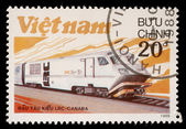 Stamp printed in Vietnam shows locomotive LRS produced in Canada — Stock fotografie