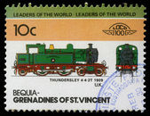 Stamp printed in Grenadines of St. Vincent shows Thundersley Train 4-4-2T, 1909 U.K — Stock Photo