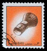 Stamp printed in emirate Ajman show spaceship — Stock Photo