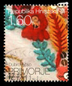 Stamp printed by Croatia dedicated to Dubrovačko Primorje, a series of Croatian Ethnographic Heritage — Stock Photo