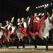Members of folk groups Gero Axular from Spain in Basque national costume — Stock Photo
