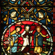 Stained glass window in St John s Church in the BBD Bagh district of Kolkata, India — Stock Photo