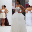 Fashion model in wedding dress made by Ana Milani on 'Wedding Expo' show in the Westgate Shopping City in Zagreb, Croatia on October 12, 2013 — Stock Photo