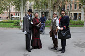 The event Zagreb Time Machine, there was a promenade of the old city costumes — Stock Photo