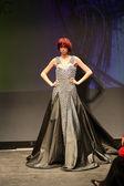 Fashion model wearing clothes designed by Anita Koturic on the Fashion Wardrobe show — Stock Photo