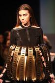 Fashion model wearing clothes designed by Marcela Sahini on the Fashion Wardrobe show — Stock Photo