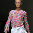 Stock Photo: Fashion model wearing clothes designed by Tramp in Disguise on Zagreb Fashion Week show