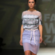 Fashion model wearing clothes designed by Tramp in Disguise on the Zagreb Fashion Week — Stock Photo