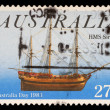 Stamp from Australia shows image of the ship HMS Sirius and commemorates Australia Day — Stock Photo