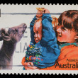Stamp printed in Australia shows image of Aussie kids — Stock Photo