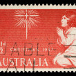 Stamp printed in Australia from the Christmas issue shows The Spirit of Christmas — Stock Photo