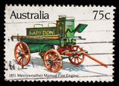Stamp printed in Australia shows the Merryweather Manual Engine (1851), Historic Fire Engines — Stock Photo
