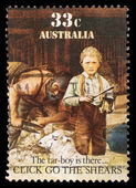 Stamp printed in Australia shows sheepshearing — Stock Photo