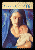 """Stamp printed in Australia from the """"Christmas """" issue shows Madonna and Child — Foto Stock"""