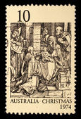 Stamp printed in Australia shows the Adoration of the Kings by Durer — Stock Photo