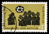 Stamp printed in AUSTRALIA shows the Adoration of the Shepherds — Stock Photo