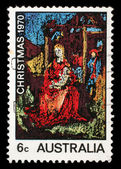 Stamp printed in the Australia shows Madonna and Child, Painting by William Beasley, Christmas — Stockfoto