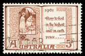Australian postage stamp shows The Holy Virgin Mary and baby Jesus — Stock Photo