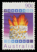 Stamp printed in Australia, shows Environmental conservation, Energy — Stock Photo