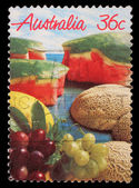 Stamp printed in Australia shows fruits — Stock Photo