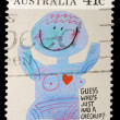 "Stamp printed in Australia shows the Caricature ""Medical checkups"", Community health — Stock Photo"