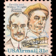 Stock Photo: Stamp printed in USshows image of brothers Orville and Wilbur Wright - Americaviation pioneers