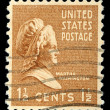 Stamp shows portrait Martha Dandridge Custis Washington — Stock Photo