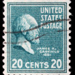 Stamp printed in United States. Displays a portrait of of James Abram Garfield — Stock Photo #37553491
