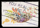 "Stamp printed in AUSTRALIA shows the Bunch of flowers with the description ""Thinking of You"", Special Occasions — Stock Photo"